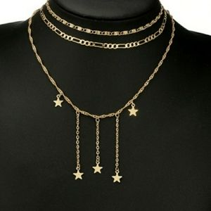 Jewelry - Layered 3 Strand Star Charm Convertible Necklace